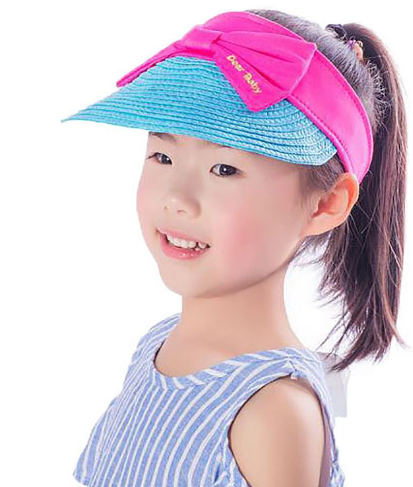 Ababalaya Wide Brim Straw UPF 50+ Beach Travel Bow Sun Hats Visor For Kids Girls 3-8T,Blue Bow