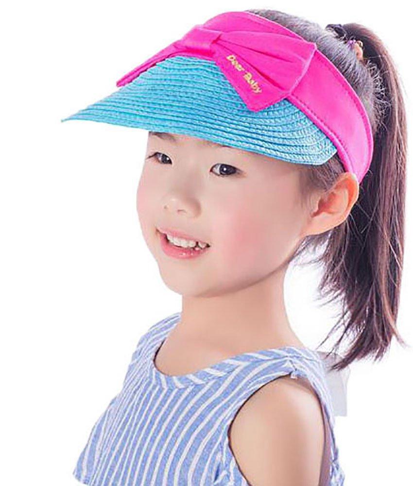 Ababalaya Wide Brim Straw UPF 50+ Beach Travel Bow Sun Hats Visor For Kids Girls 3-8T,Blue Bow