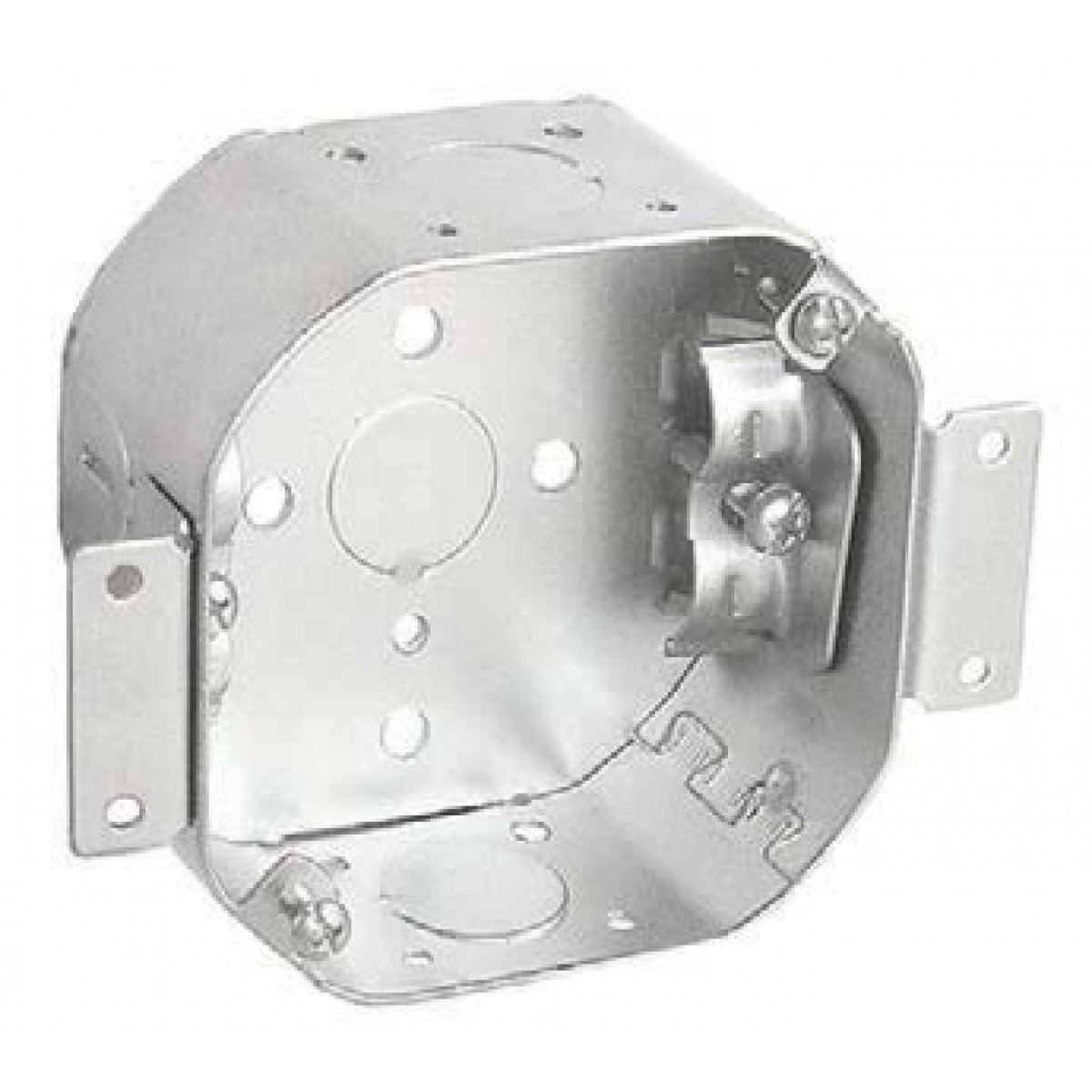 1 Pc, 4 In. Octagon Cut In Old Work Box, 2-1/8 In. Deep, (4) Nm Clamps & (1) 1/2 In. Bottom Knockout, .0625 Galvanized Steel