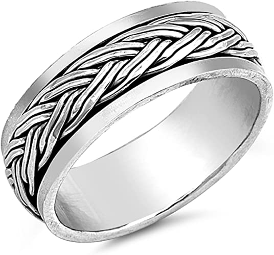 Princess Kylie 925 Sterling Silver Double Braided Eternity Band Ring