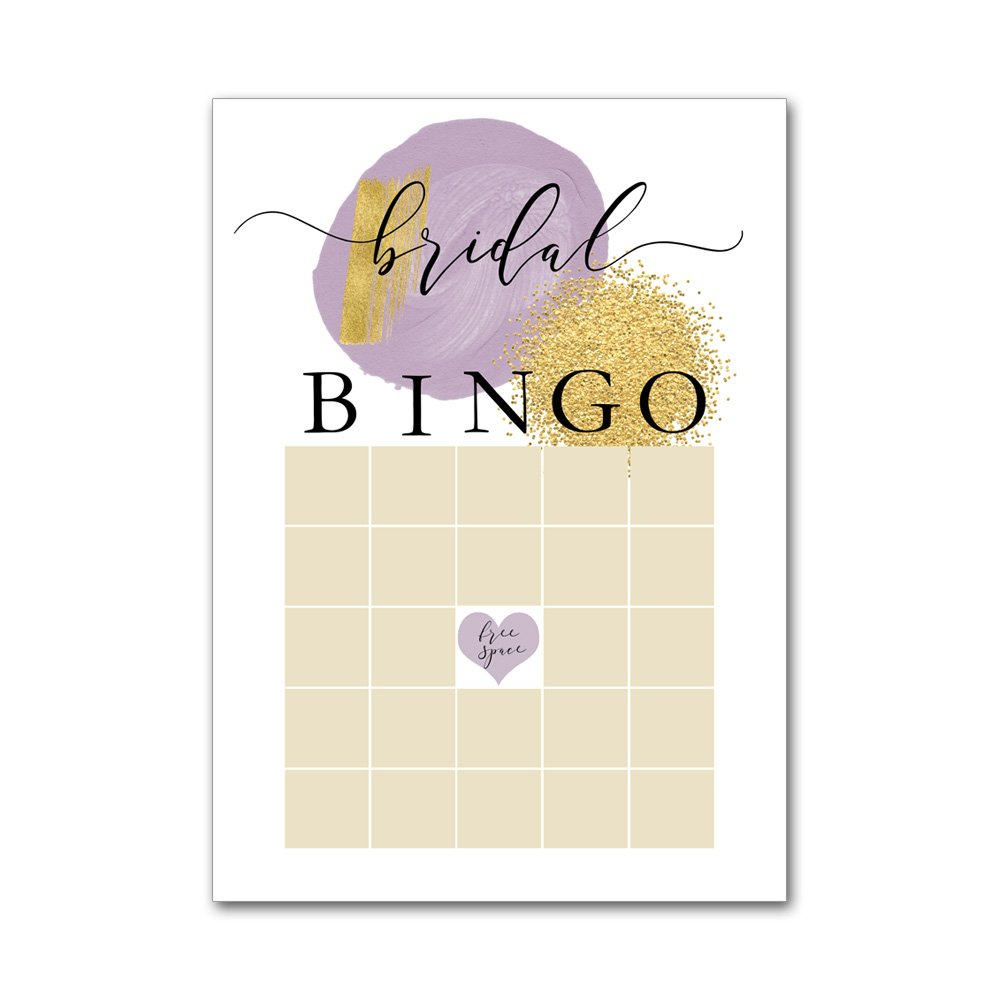 Bingo Game Cards for Bridal Wedding Showers with Watercolor Lavender Purple and Gold Glitter Dot BBG8033