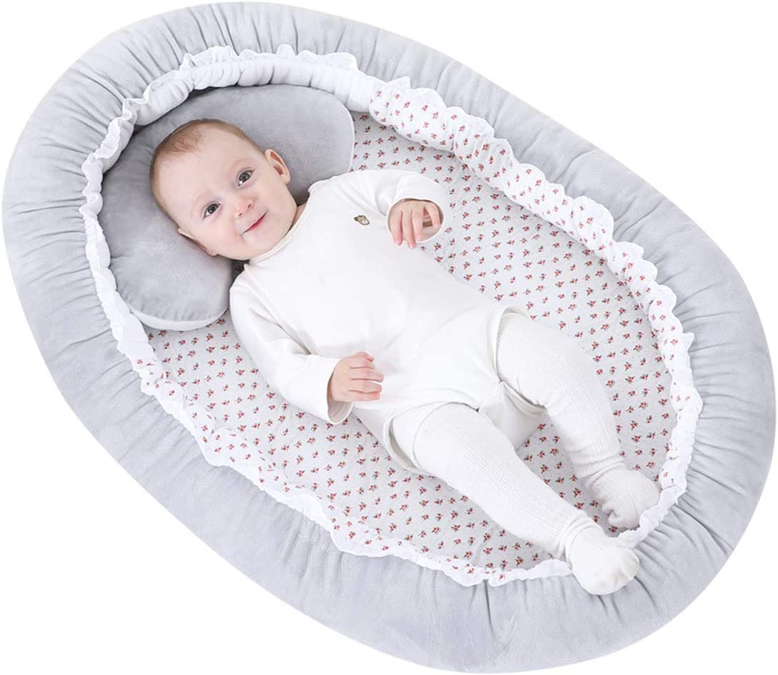 Portable Crib Soft Breathable Infant Bed Co-Sleeping Bassinet Mattress for Toddler Babies Boys and Girls 0-12 months Camidy Newborn Lounger