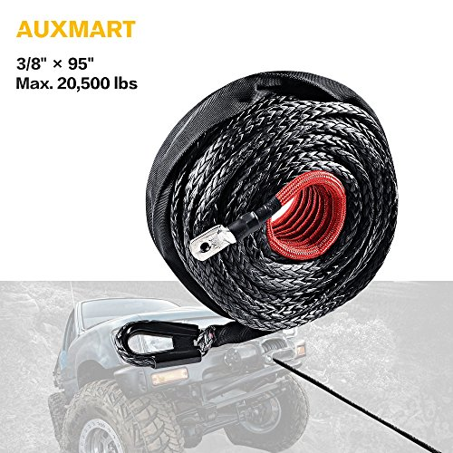 AUXMART Synthetic Winch Rope Winch Line Cable 20500LBs Protective Sleeve 95ft x 3/8″ for ATV UTV SUV Truck Boat Ramsey