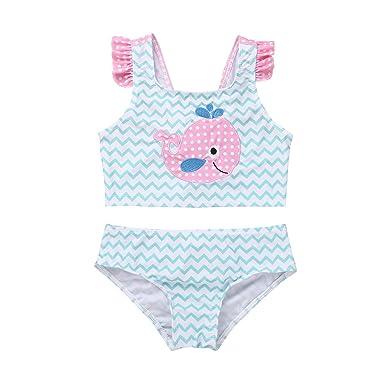 ceb4c189cc IEFIEL 2PCS Ensembles Vêtements Bébé Fille Bikini Culotte et Haut Enfant  Maillot de Bain Dauphin Tankini