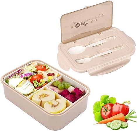 Sunshine smile Caja de Bento con 3 Compartimentos,microondas y lavavajillas Lunch Box,Bento Box para Niños,Fambrera Infantil,Caja de Almuerzo de Plástico,Fiambreras Bento(Beige): Amazon.es: Hogar