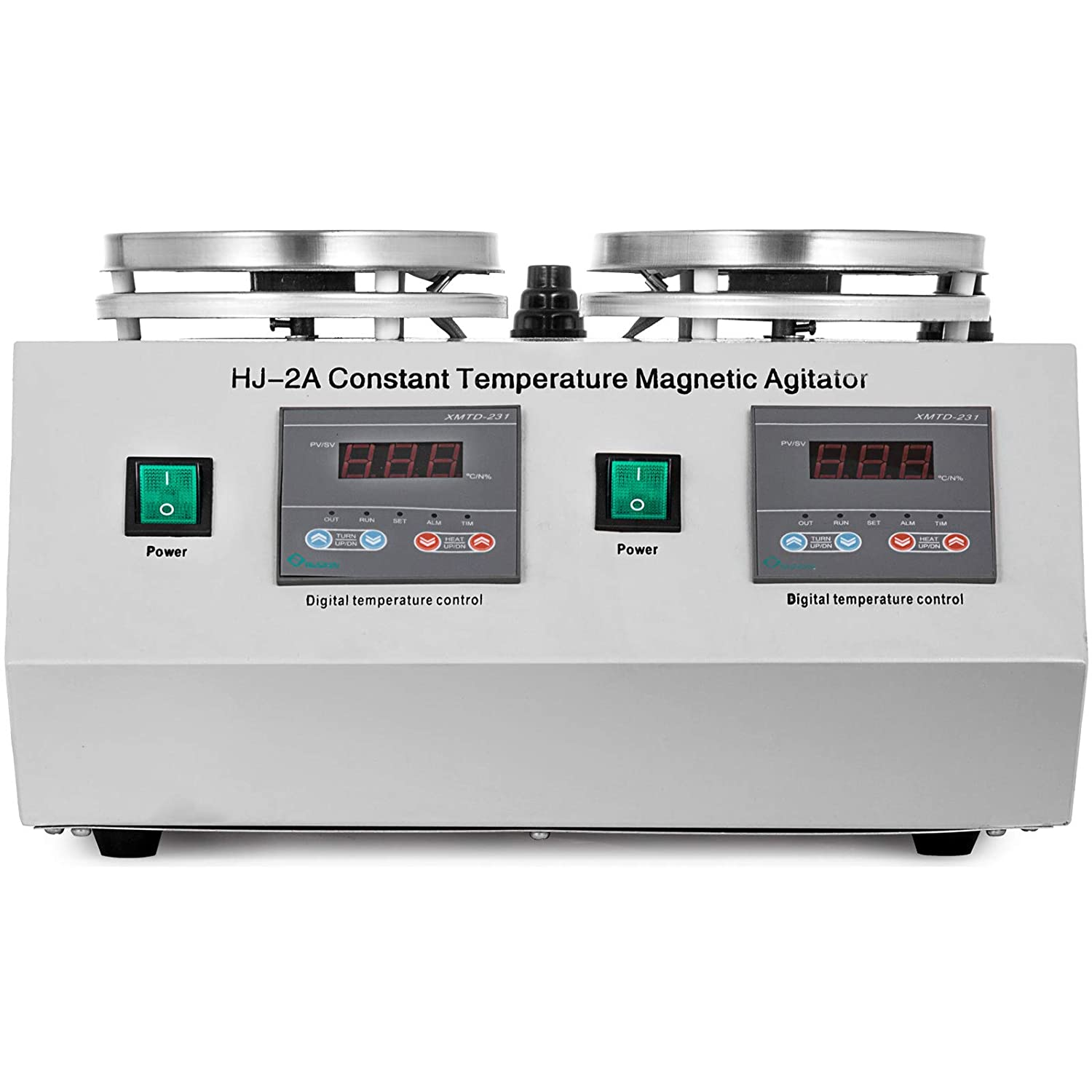 MosaicAL 2 Heads Magnetic Stirrer HJ-2A Stir Bar Thermostatic Dual Control Constant Magnetic Agitator Hotplate for Lab HJ-2A
