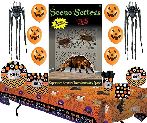 Spider Halloween Party Supplies Pack Bundle (Halloween Paper Plate Spider Crafts)