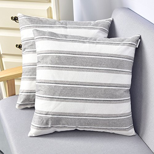 (NATUS WEAVER 2 Pack Multi Color Stripe Lined Linen Burlap Square Throw Cushion Cover Sham Euro Pillowcase with Hidden Zipper, 18