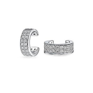 Bling Jewelry Modern Lines Geometric Sterling Silver Single Ear Cuff QCnpwma