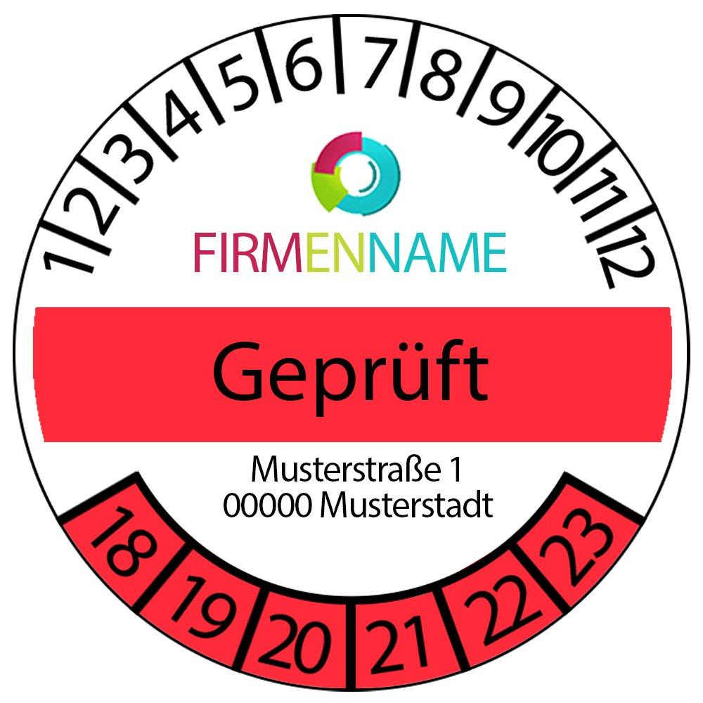 Prüfplakette - Geprüft mit Logo 2018-2023 ROT 30mm (100)