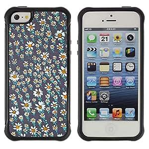 WAWU Funda Carcasa Bumper con Absorci??e Impactos y Anti-Ara??s Espalda Slim Rugged Armor -- daisy flower field wallpaper teal pretty -- Apple Iphone 5 / 5S