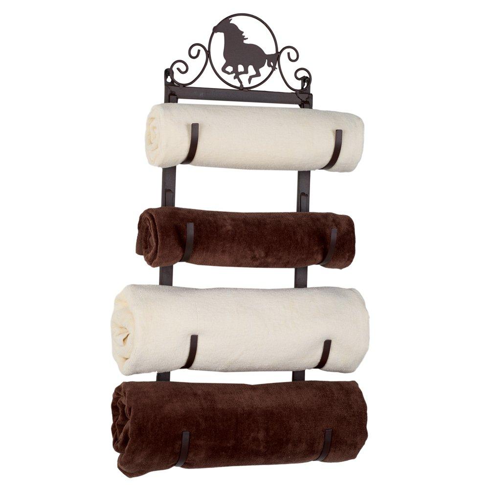 Western Horse Metal Towel Rack