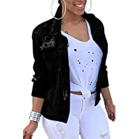 Women Denim Jackets Distressed Button Down Long Sleeve Classic Jean Jacket Coats