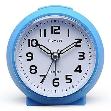 Plumeet Pequeño Reloj, Ticking Reloj Despertador de Viaje con Snooze y Nightlight, Color Lindo