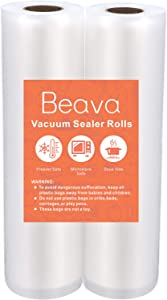 Vacuum Sealer Rolls 8 Inch, Beava 16.4 Feet 2 Pack Vacuum Sealer Bags Embossed Food Saver Bags Heavy Duty Commercial Grade Vacuum Sealer Freezer Bags for Seal a Meal, Sous Vide or Meal Prep