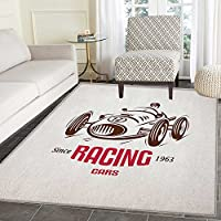 Cars Area Rug Carpet Retro Style Race Car Emblem Formula Automobile Icon Speed Competition Customize door mats for home Mat 3x5 Chesnut Brown Pink White