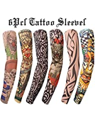 Gospire 6 Pcs Stretchy Nylon Fake Temporary Tattoo Sleeves Body Art Arm Stockings Slip Accessories Halloween Tattoo Soft for Men Women