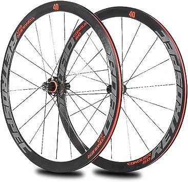 LIDAUTO Juego de Ruedas de Bicicleta de Carretera 700C Aleación de Aluminio Ultraligera de 40 mm Buje de Fibra de Carbono de 4 rodamientos Logo Reflectante,Red: Amazon.es: Deportes y aire libre