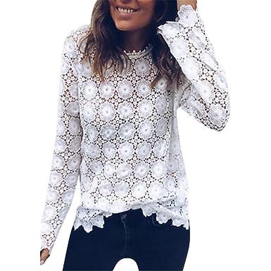 40696edb1 UPLOTER Women's Long Sleeve Boho Elegant Loose Fit Sheer Lace Splice Peplum  Tops Tunic Blouses (