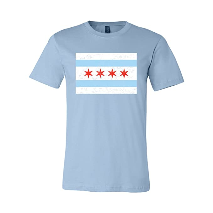 58e79673 UGP Campus Apparel Chicago City Flag Distressed - Illinois, Hometown Pride T  Shirt - X