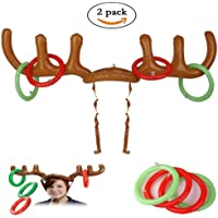 GREATLOVE Hosfairy 2 Sets of Christmas Party, Inflatable Reindeer Antlers Hat Toys