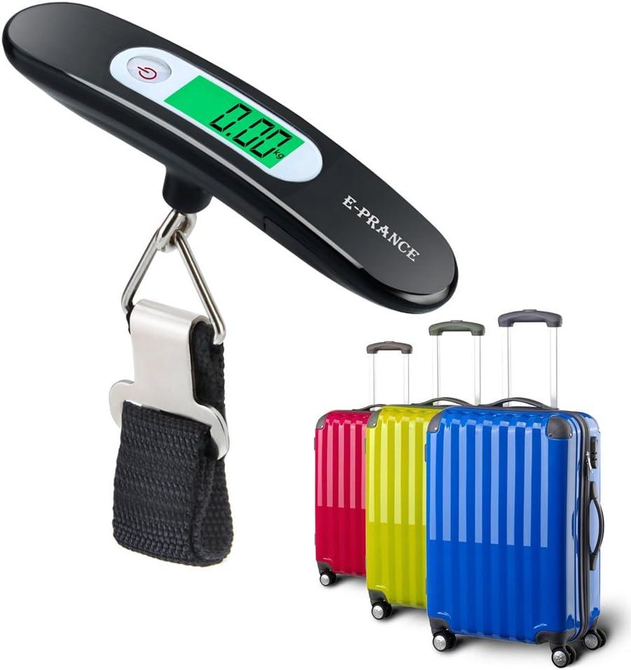 E-PRANCE Balanza Ergon/¨/®Mica LCD B/¨/¢scula//B/¨/¢scula Pesca Digital 50g//50Kg 0.1lb//110lb para Maletas Equipaje de Viaje B/¨/¢scula Negro-4