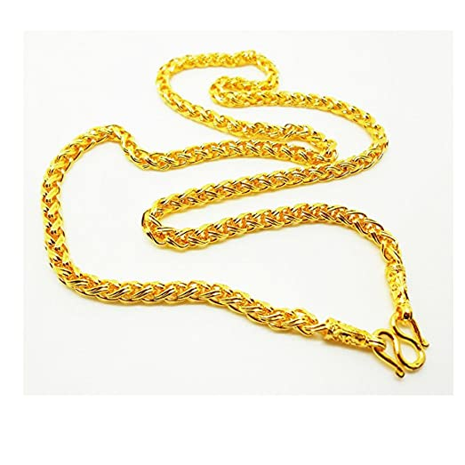 Amazoncom Braid 22K 23K 24K THAI BAHT GOLD PLATED NECKLACE 24 inch