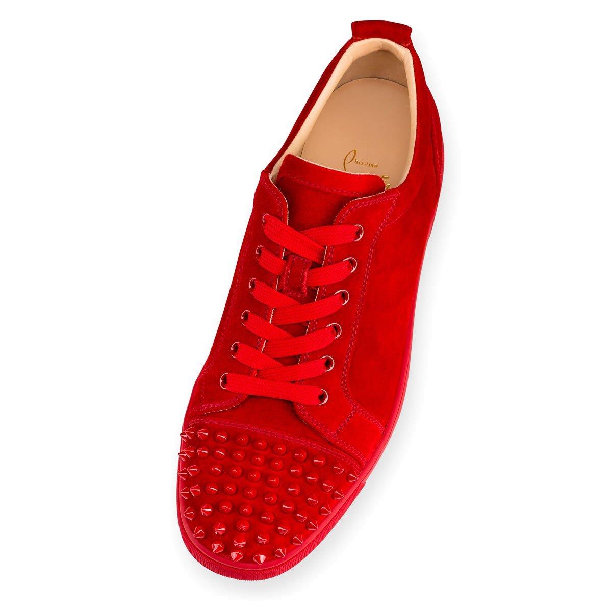 64df52ecf5d65 Christian Louboutin Louis Junior Spikes Flat Veau Velours - Carmin 40 EUR:  Amazon.co.uk: Shoes & Bags