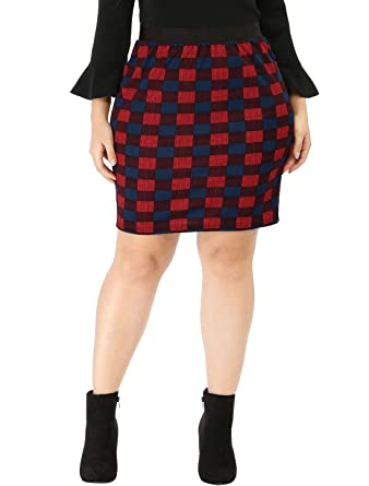 9eef0e002a2 uxcell Women s Plus Size Elastic Waistband Plaids Mini Pencil Skirt 1X Red
