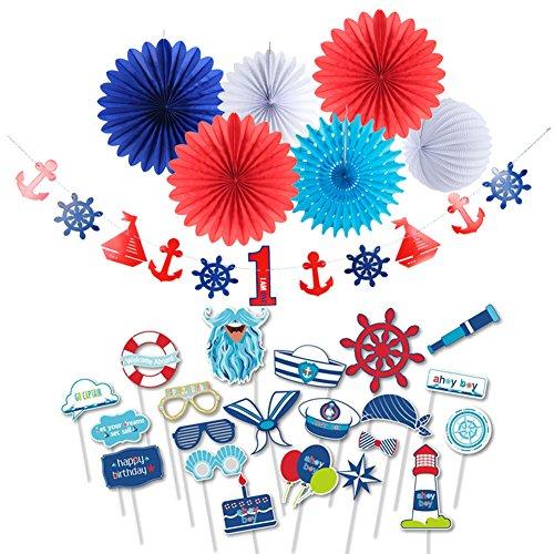 1st Birthday Boy Decoration Kit Paper Fans Nautical