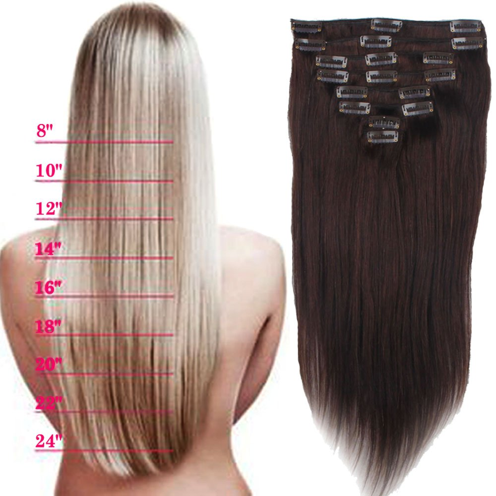 Lelinta 18'' 8Pcs 100% Remy Real Human Single Thick Weft Hair Straight Extension by Lelinta (Image #4)