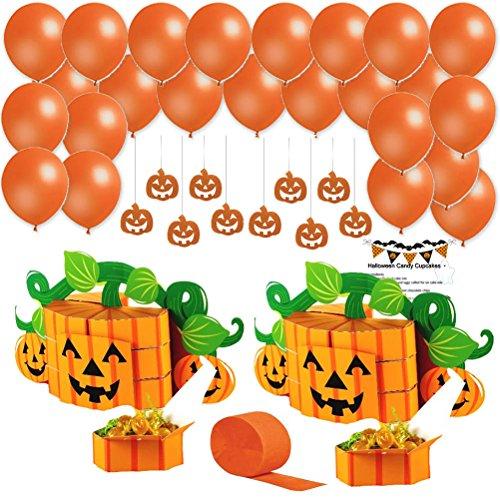 Halloween Decorations Set Party Supplies Kit Balloons Hanging Pumpkin Decorations Centerpieces Treat Boxes Orange Streamer Recipe Pumpkin Party Pack 62 Pieces (Halloween Goodies Recipes)
