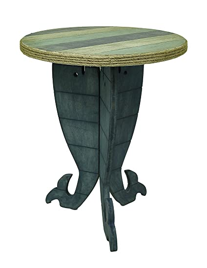 Zeckos Wood Accent Tables Triple Whale Round Wooden Striped Accent Table 30  In. 24 X