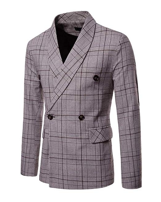 Traje Cuadros Hombre Manga Larga Chaqueta Blazer Slim Fit Jacket