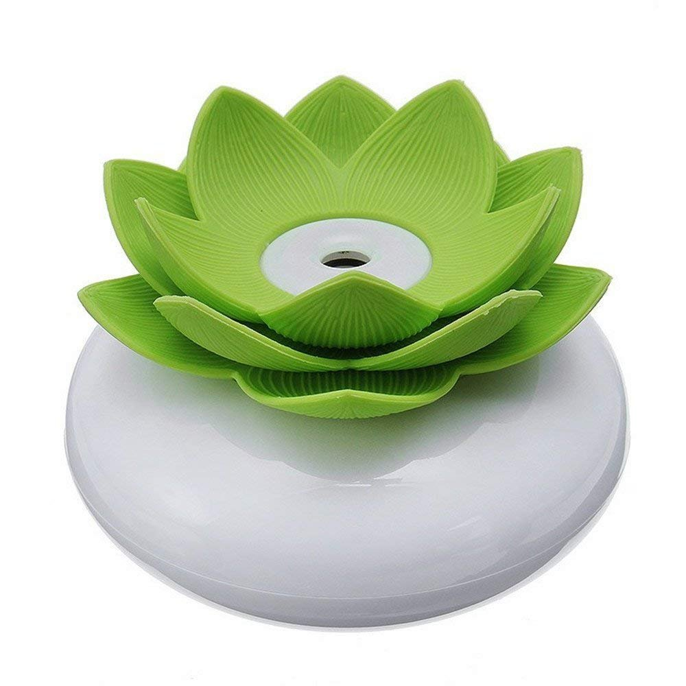 CLKjdz Mini Humidifier USB Office Lotus Shape Air Humidifier Light Mini USB Home Air Humidifier Negative lon Air Purifier (Green)