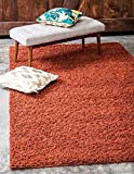 Unique Loom Solid Shag Collection Terracotta 10 x 13 Area Rug (10' x 13')