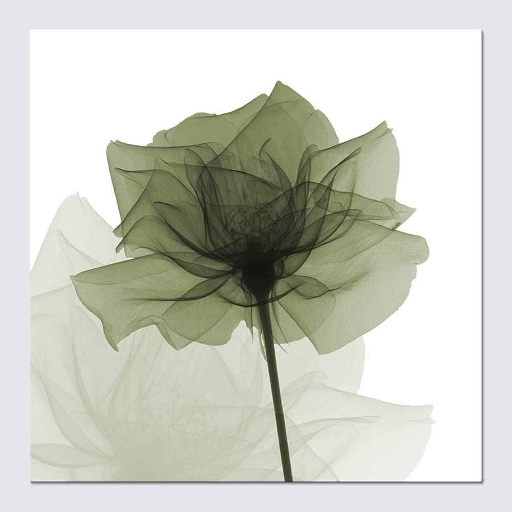 Wieco Art Large Contemporary Gallery Wrapped Floral Giclee Canvas Print Green Flickering Flowers Pictures Paintings on Canvas Wall Art Ready to Hang for Living Room Home Decorations 24x24 inch