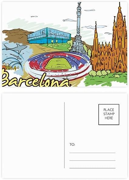 DIYthinker Gracias Barcelona, España Monumento acuarela postal Conjunto de tarjeta de cumpleaños de correo lateral 20Pcs 5,7 pulgadas x 3,8 pulgadas Multicolor: Amazon.es: Oficina y papelería