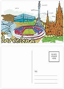 DIYthinker Gracias Barcelona, España Monumento acuarela postal ...