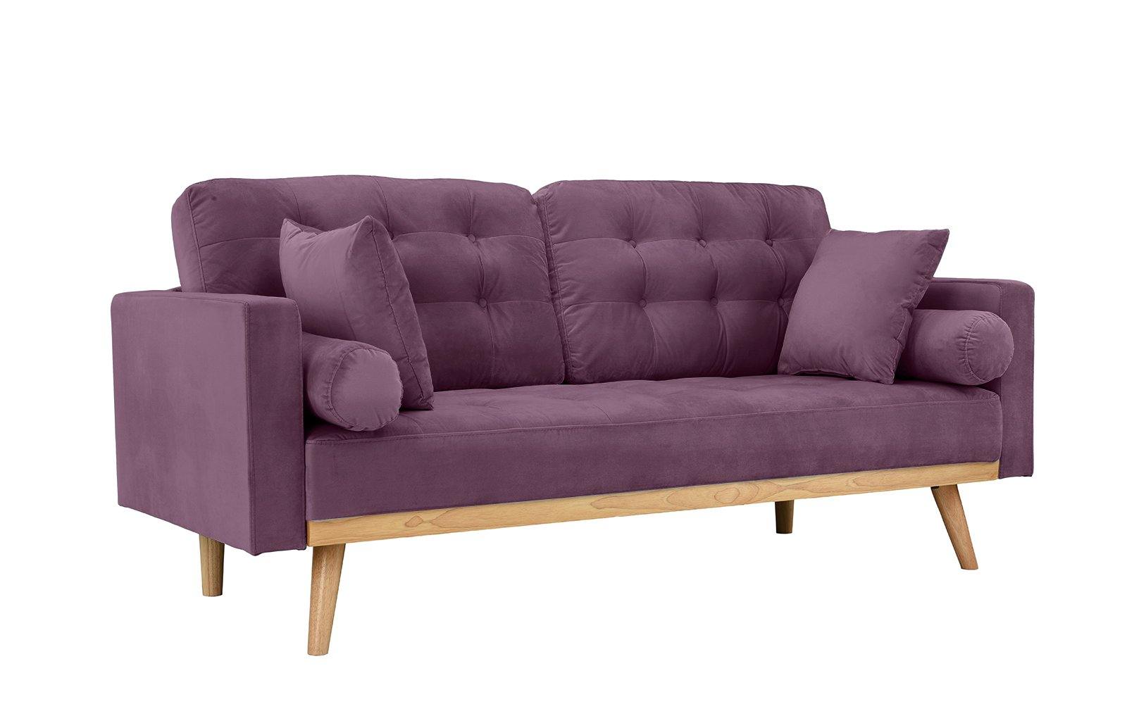 Mid-Century Modern Tufted Velvet Fabric Sofa (Purple) - Modern mid century sofa in various colors - Includes 2 bolster side pillows and 2 square pillows in the same fabric Soft hand picked velvet fabric in tufted button design for a touch of sophistication while still giving your living room a modern feel Super comfortable and stylish - this sofa is perfect for a small space and the colors available are sure to fit your home decor. - sofas-couches, living-room-furniture, living-room - 61UaaHGXmIL -