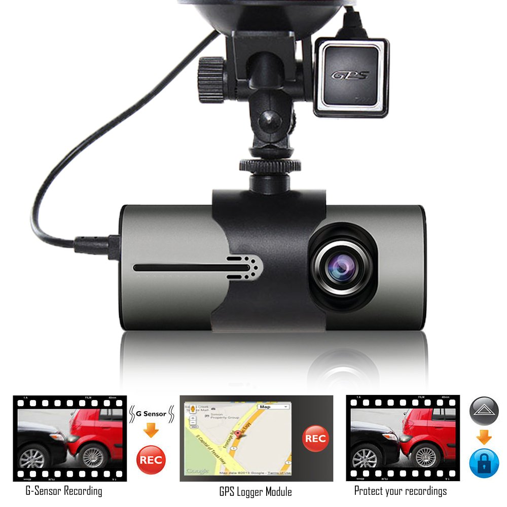 Indigi XR300 Dash Cam 2.7'' LCD DVR + GPS Module & Google Maps on Review + Dual Lens (Front & In-Cab Recording)