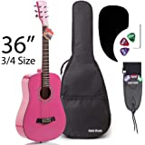 3/4 Size (36 Inch) Acoustic Guitar Bundle Junior/Travel Series by Hola! Music with D'Addario EXP16 Steel Strings