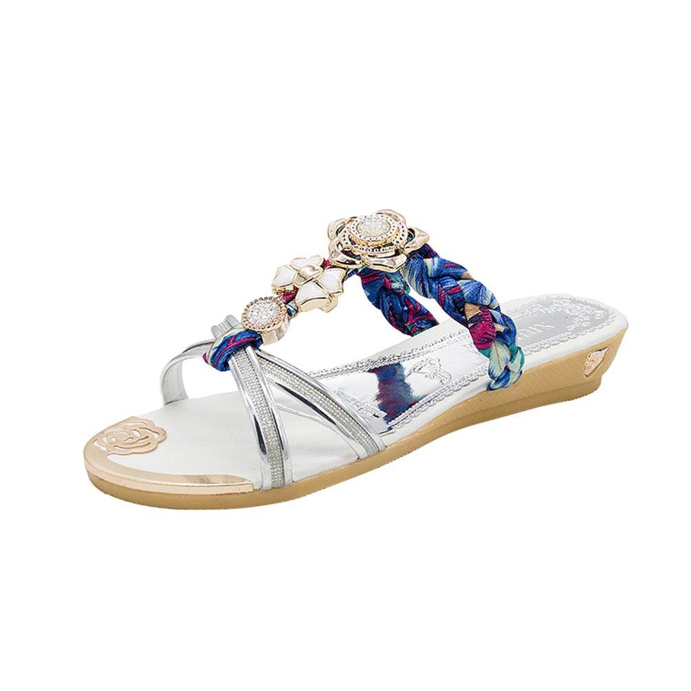 LvRaoo Damen T-Strap Sandalen mit Strass Zehentrenner Open-Toe Blumen Hausschuhe Bohemian Keilabsatz Slippers  Asien 36 Silber