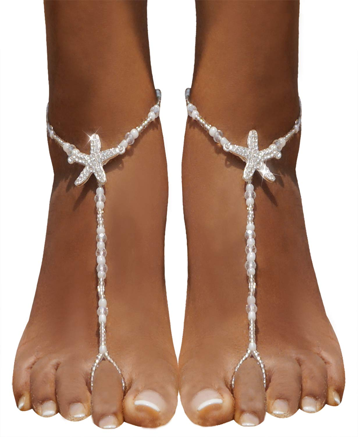 aa0c8e917 Bellady 2Pcs Pearl Ankle Chain Barefoot Sandals with Starfish Beach ...