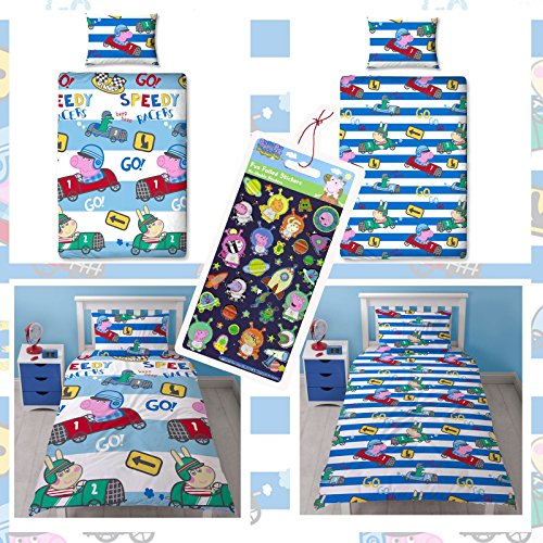 Peppa Pig George Speed 2 Piece UK Single/US Twin Sheet Set - 1 x double sided sheet & 1 x pillowcase + Peppa Pig George Small Foil Stickers