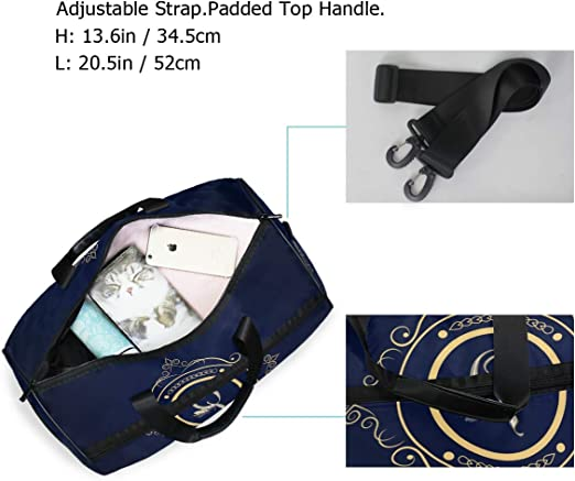 FANTAZIO Monogram U Sports Bag Packable Travel Duffle Bag Lightweight Water Resistant Tear Resistant