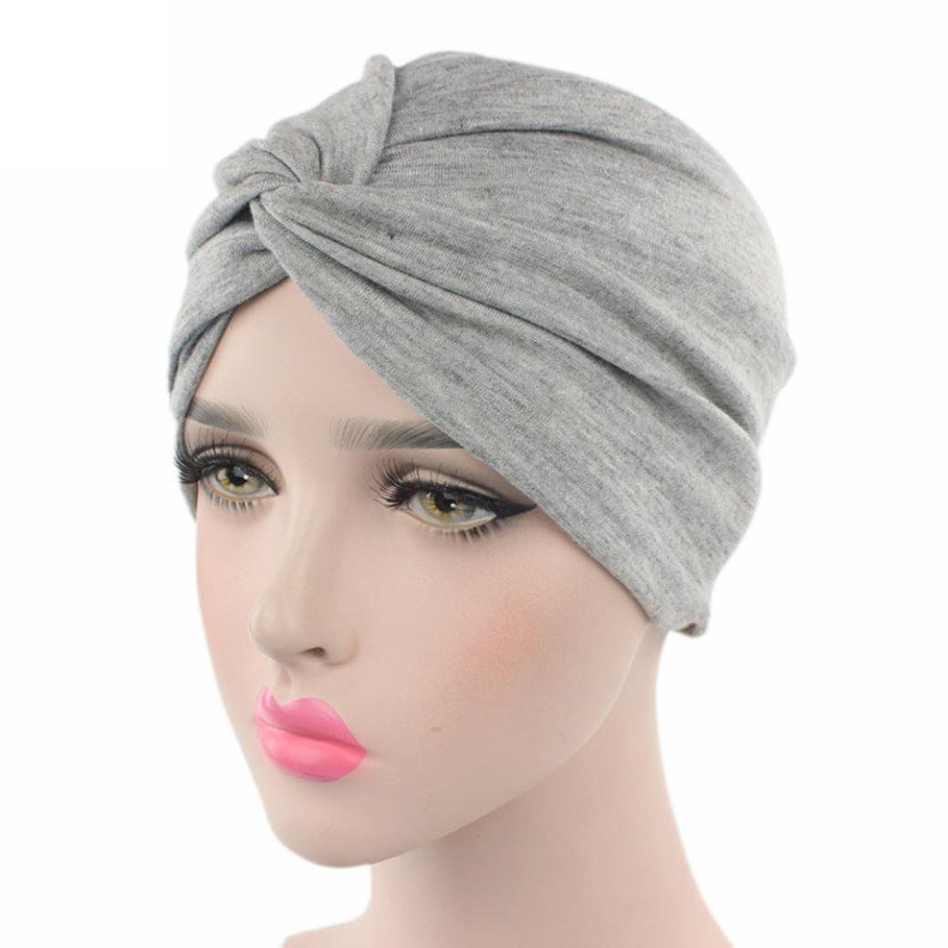 Gotd Women Solid Hat Beanie Scarf Cancer Chemo Turban Head Wrap Cap (Gray) Goodtrade8
