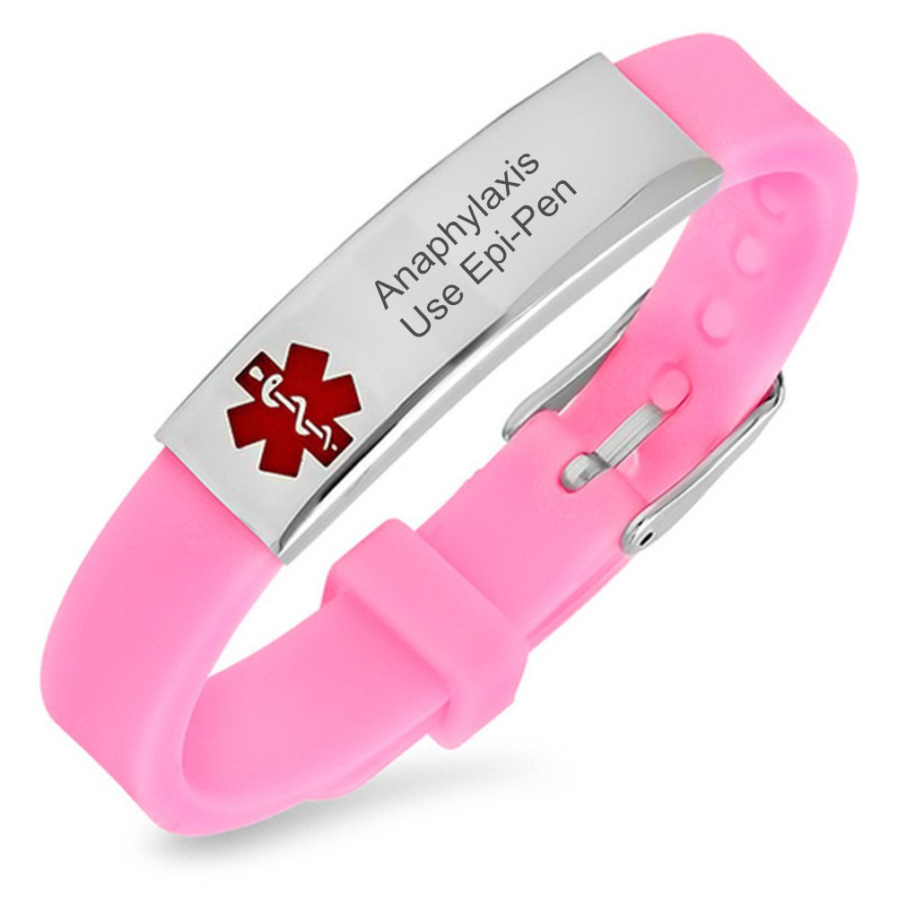 Sunling Free Engraving Stainless Steel Medical Alert Anaphylaxis Use Epi-Pen Awareness Silicone Bracelet Custom Allergy Emergency SOS Saver Wristband Bangle for Kids,Son,Daughter,Grandpa,Grandma