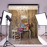 SUSU Vintage Wood Wall Photography Backdrops Pink Flowers Background 5x7ft Lighting Decoration Chandelier Photo Backdrop Shoot