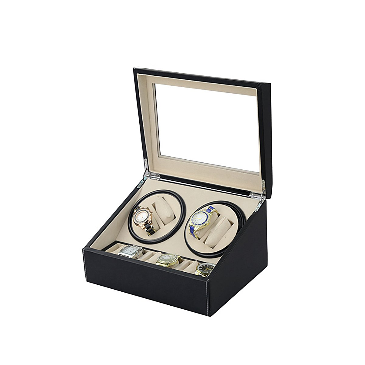 HooAMI Leather Automatic Rotation 4+6 Watch Winder Storage Case Display Box by HooAMI (Image #3)